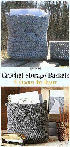 Crochet Owl Basket Free Pattern - Storage #Basket; Free #Crochet; Patterns