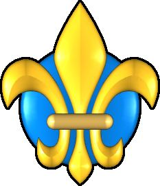 Fleur de lis in Turquoise and Gold