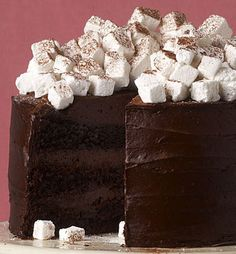Hot Chocolate Layer Cake with Homemade Marshmallows...