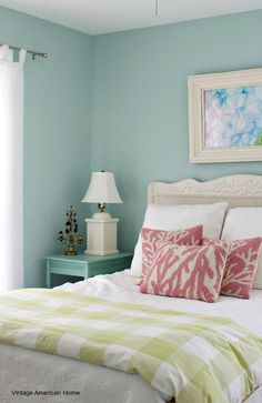 The color Watery by Sherwin Williams on the walls.  Which paint colors are the best if you are fixing up a fixer upper or beach house.