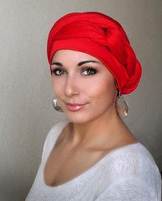 Red Turban Dreads Wrap Head Wrap Alopecia Scarf por TurbanDiva