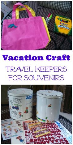 EASY & non-messy Vacation craft for kids, tweens & teens - customize your own Travel tin to keep all the souvenirs you collect on the trip -- Love this road trip craft or idea for a long plane ride!  Perfect way to store all those items the kids collect on vacation. #edventureswithkids