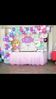 arco de globos Paw Patrol Birthday Decorations, Paw Patrol Birthday Theme, Girl Paw Patrol Party, Paw Patrol Party Supplies, 3rd Birthday Party For Girls, Birthday Ideas, Sky E, Fete Emma, Paw Patrol Invitations