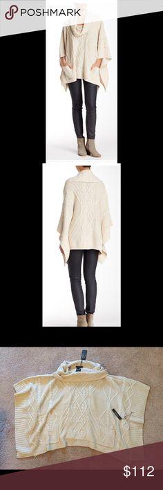 "Vertigo Taupe Cowl Neck Poncho Cowl knit, 2 front patch pockets, rib knit trim, cable knit construction, asymmetrical hem. About 27"" shortest length, 34"" longest length. 100% acrylic. Hand wash. Fits true to size. Vertigo Sweaters Shrugs & Ponchos"