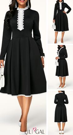 USD29.22 Long Sleeve High Waist Lace Panel Swing Dress  liligal  dresses 1ca2ff0ae475
