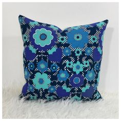 "Vintage 70s Blue Psychedelic Fabric Cushion Cover  16"" x 16"" Retro Accent Pillow"