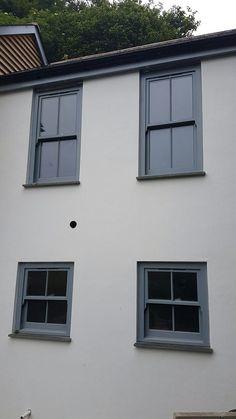 Windows supplied by Timber Windows Direct. Black Windows Exterior, Upvc Sash Windows, Bay Window Exterior, Terrace House Exterior, Victorian Terrace Interior, Victorian Windows, Timber Windows, House Paint Exterior, Exterior House Colors