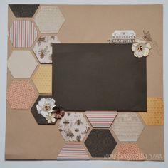 One Page Scrapbook Layout. www.fancymelissa.com #buzz #bee #ctmh #hexagons