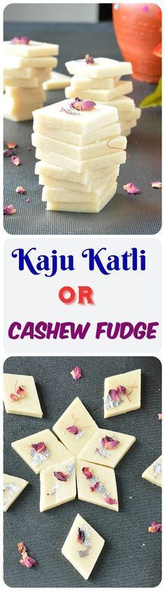 Kaju katli or Cashew fudge is a popular Indian festive sweet prepared with cashews and sugar syrup. A gluten-free and vegetarian recipe. Fudge Recipes, Sweets Recipes, Candy Recipes, Cooking Recipes, Indian Dessert Recipes, Indian Sweets, Indian Recipes, Kaju Katli, Burfi Recipe