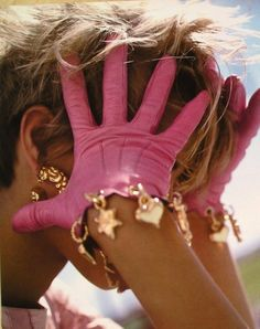 CHARMING PINK LEATHER GLOVES