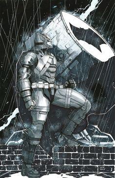 Fan art Batman con armadura versión de la última película de warner dibujo y tinta digital en mi iPad con la App procreate
