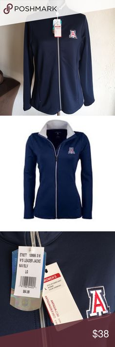 ARIZONA UNIVERSITY LEADER JACKET Women's Leaders Jacket Brand— antigua,  Color— Navy blue with long sleeves,  full zipper, 2 front pockets 2 inside pockets, Material—- 93% Polyester 7% spandex NWT. Retail price $64.99. Antigua Jackets & Coats