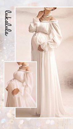1c4f637433203 $38.99 Maternity Off Shoulder Lace Long Sleeve White Dress Maternity  Clothing, Maternity Dresses, Bohemian