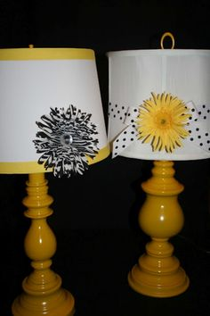 Spray paint old lamps and embellish shades.  Embellishment can be a flight of fancy!