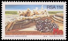 Южно-Африканская Республика Strategic mineral resources Union Of South Africa, African History, Rocks And Minerals, 1984, Stamps, The World, Rocks, South Africa, Fossils