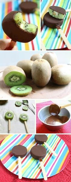 Dessert For A Hot Summer Day: Chocolate Kiwi Popsicles (healthy summer snacks) Healthy Treats, Healthy Desserts, Fun Desserts, Delicious Desserts, Dessert Recipes, Delicious Chocolate, Kiwi Recipes, Summer Desserts, Snacks Recipes