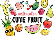 Watercolor Cute Fruit  High Res PNG Kawaii and Fun for