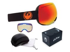 f89e01f2dea NEW Dragon APX Jet Black Red Mirror Mens Ski Snowboard Goggles Xtra lens Ret 200   goggles  xtra  lens  snowboard  mens  black  mirror  dragon