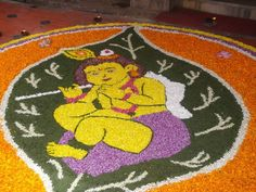 Guruvayoor Onam Pookalam image by egirish - Photobucket Rangoli Designs Flower, Rangoli Patterns, Colorful Rangoli Designs, Flower Rangoli, Flower Pattern Design, Flower Patterns, Flower Crafts, Flower Art, Onam Pookalam Design