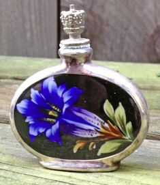 Handpainted Floral Sterling Perfume Bottle With Crown TOP C1930
