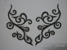 Zilver - zwart applicatie 190mmx90mm per paar Applique Patterns, Machine Embroidery Designs, Hand Embroidery, Arabesque, Parchment Craft, Swirl Design, Beading Projects, Fantasy Inspiration, Stencil Designs