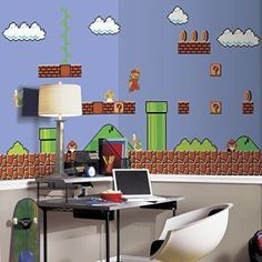 Game room wall art is crazy popular right now because the popular of gamers are exploding. Gaming is not just for the youth anymore. Whether it be billiards, darts, poker, video games, PC games and even cutting edge VR gaming space is needed to make these games enjoyable. For this reason why not make this space as cool as possible with some awesome gaming wall decor. RoomMates JL1331M Super Mario Retro X-Large Chair Rail Prepasted Mural, Ultra-strippable, 6' x 10.5'