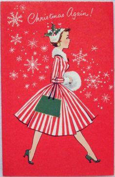 764 50s Norcross Pretty Mid Century Lady w Muff Vtg Christmas Greeting Card | eBay