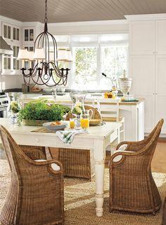 Fashionable Kitchen in a neutral color scheme - trim in BM Gardenia. Wall and Cabinets in BM Pristine, Ceiling in BM Ticonderoga taupe