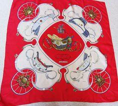 hermes Springs silk scarf;magnifique foulard Hermes vintage rouge.