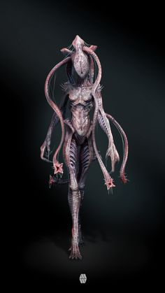 The MIND FLAYER, concept creature design that could live in the Stranger Things Universe the 'Upside Down'. This is my take on the famous DnD character that was adapted to a Stranger Things Monster Concept Art, Fantasy Monster, Monster Art, Alien Creatures, Magical Creatures, Fantasy Creatures, Strange Creatures, Arte Horror, Horror Art