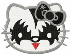 Hello Kitty KISS fan machine embroidery design. Machine embroidery design. www.embroideres.com Machine Embroidery Applique, Embroidery Patterns, Hello Kitty Pictures, Superhero Logos, Crafty, Texture, Quilts, Sewing, Knitting