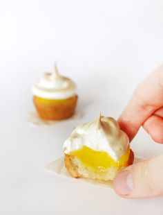 Everything's better when bite-sized. Like these two-bite lemon meringue pies! Mini Desserts, Just Desserts, Delicious Desserts, Dessert Recipes, Yummy Food, Lemon Desserts, Plated Desserts, Dessert Ideas, Mini Tartelette Citron