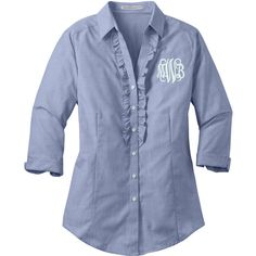 Monogrammed Ladies Crosshatch Ruffle Shirt Chambray Blue or Pink... ($40) ❤ liked on Polyvore featuring plus size fashion, plus size clothing, plus size tops, tops, silver, women's clothing, collared shirt, blue shirt, checkered shirt and pink shirt