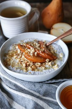 Thick, creamy, decadent chia seed pudding with caramelized pears and yogurt – a sweet breakfast or healthy treat that only takes a few minutes to prepare. Chia seed pudding…what's your …