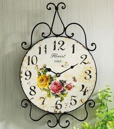 Vintage Style Scrolled Rose French Country Paris Wall Clock - Like