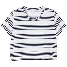 Monki Cropped tee ($7.91) ❤ liked on Polyvore featuring tops, t-shirts, shirts, crop tops, new stripes on the block, striped shirt, t shirt, crop shirt, color block shirts and crop tee