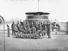 size: Photographic Print: Officers on Deck of Monitor on James River During the American Civil War by Stocktrek Images : Siege Of Petersburg, Uss Monitor, Hms Hood, Civil War Photos, American Civil War, Military History, Historical Photos, Wood Print, Civilization