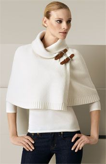 Love this fashion-forward capelet.Ralph Lauren Black Label Buckle Capelet
