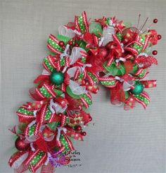 Deco Mesh Candy Cane, Christmas Candy Cane, Candy Cane Wreath, Holiday Wreath #Unbranded