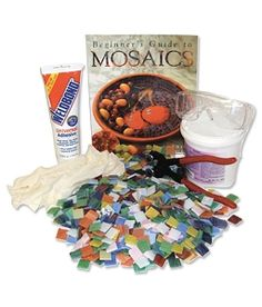 ~ Mosaic Starter Kits and Mosaic Tile Starter Packs...  Everything You Need in One Great Package. It includes all of their beginner supply favorites - nippers, glue, instruction book, glass, grout and safety equipment. The supplies are enough for several mosaic projects - and after reviewing the included mosaic project book you will be filled with ideas.