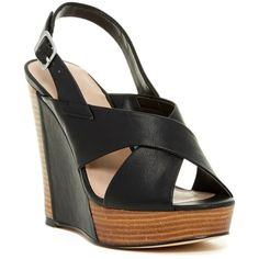 Charles By Charles David Artist Platform Wedge Sandal ($50) ❤ liked on Polyvore featuring shoes, sandals, strappy sandals, open toe sandals, strappy shoes, charles by charles david and strap sandals