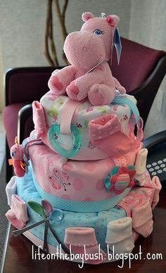 Life on the Bay Bush: Most Lovely Diaper Cake EVER. *** Find out even more at the picture link