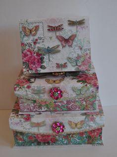 Punch Studio Keepsake Box set 3 Dragonfly Brooch Embellished Floral Butterfly   ebay 36.55