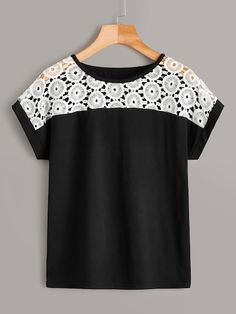 To find out about the Contrast Lace Round Neck Tee at SHEIN, part of our latest T-Shirts ready to shop online today! Love Fashion, Fashion News, Womens Fashion, Blouse Styles, Blouse Designs, Chiffon Shirt, Summer Shirts, Baby Girl Dresses, Madame