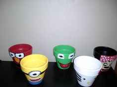 Despicable me minion, elmo, kermit, hello kitty, minnie mouse flower pots (character flower pots) great for decoration in a kids room