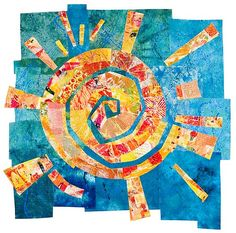 Quilt Art - Sun Dance by Catherine Kleeman solar folk circle colorful yellow orange red sunbeams sunlight shine shining mixed media collage Sun Designs, Sun Art, Paperclay, Mini Quilts, Art Plastique, Elementary Art, Fabric Art, Textile Art, Art Lessons