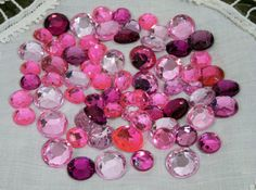 Pink Acrylic Flatback Rhinestones 50 per pack Assorted sizes - Embellishments for scrapbooking, cards, crafting