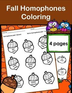 I created these after finding a need with my own students who really needed seasonal opportunity to work on Homophones and needed the experience with dealing with pairs of various words.Included are 4 (four) coloring sheets to assess knowledge of homophone pairs.