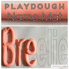 """Playdough Name Mat {I just made Bree this quick name mat and laminated it. She loves making """"Playdough snakes"""" so this combines the fun of that and learning the letters in her name!} . . . . #preschoolathome #preschoolwithmommy #preschoolactivity #playdoughname #toddlername #toddleractivity #toddleractivities #toddlerplaydough #kidactivity #kidactivities #namelearning #spelling"""