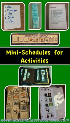 Autism Classroom News: Visual Schedule Series: Mini Schedules for Activities (and a Freebie!)